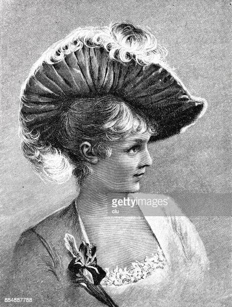Portrait of a young woman, side view, with elegant hairstyle