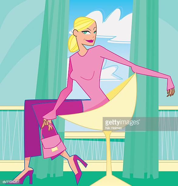 portrait of a young woman sitting in an armchair holding her handbag - updo stock illustrations, clip art, cartoons, & icons