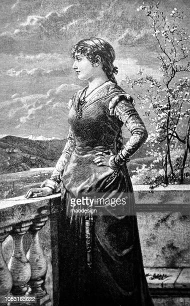 Portrait of a young woman standing on a terrace and looking away - 1888