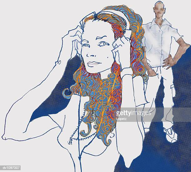 Portrait of a Young Woman Wearing Headphones in Front of a Man Standing in the Background