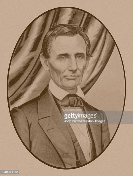 Portrait of Abe Lincoln as a clean-shaven candidate for Presidency of The United States of America, circa 1860.