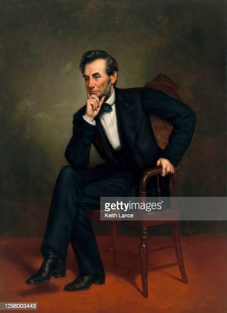 portrait of abraham lincoln, 16th us president - us president stock illustrations