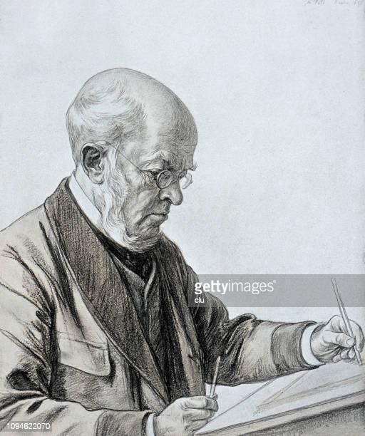 portrait of adolf von menzel, german painter and illustrator, 1815-1905 - 1905 stock illustrations, clip art, cartoons, & icons