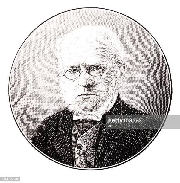 portrait of  adolph von menzel, german illustrator, 1815-1905 - 1905 stock illustrations, clip art, cartoons, & icons
