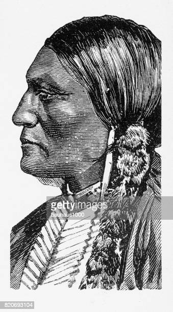 portrait of an american indian engraving, 1887 - indigenous north american culture stock illustrations, clip art, cartoons, & icons