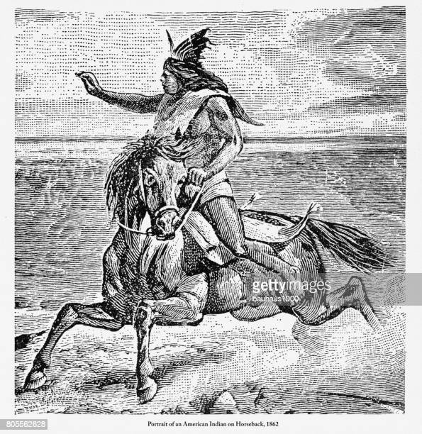 Retrato de un Nativos americanos a caballo grabado, 1862