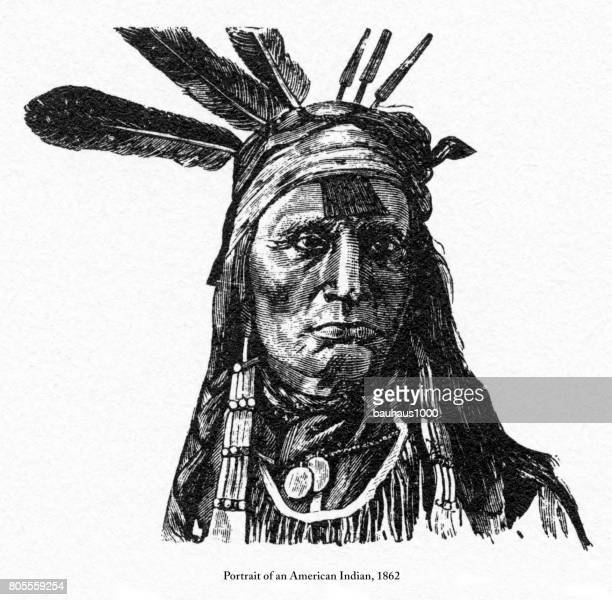 portrait of an american indians engraving, 1862 - apache culture stock illustrations, clip art, cartoons, & icons