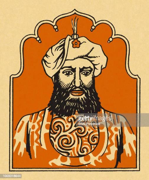 portrait of an arab man - sultan stock illustrations
