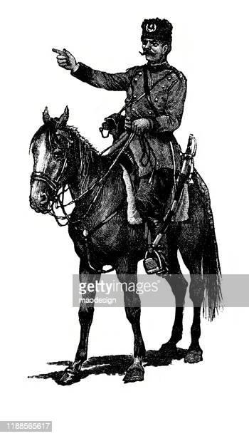 ilustrações, clipart, desenhos animados e ícones de retrato de um polícia árabe no horseback - 1887
