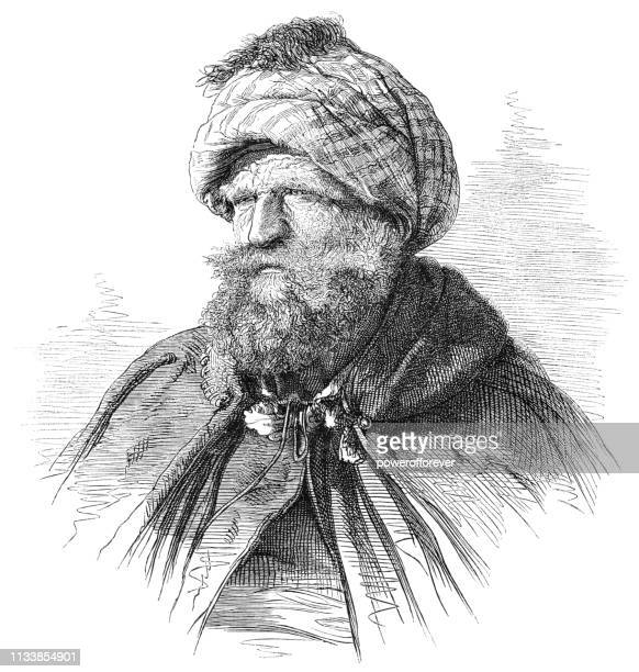 portrait of an egyptian man - 19th century - north african ethnicity stock illustrations, clip art, cartoons, & icons