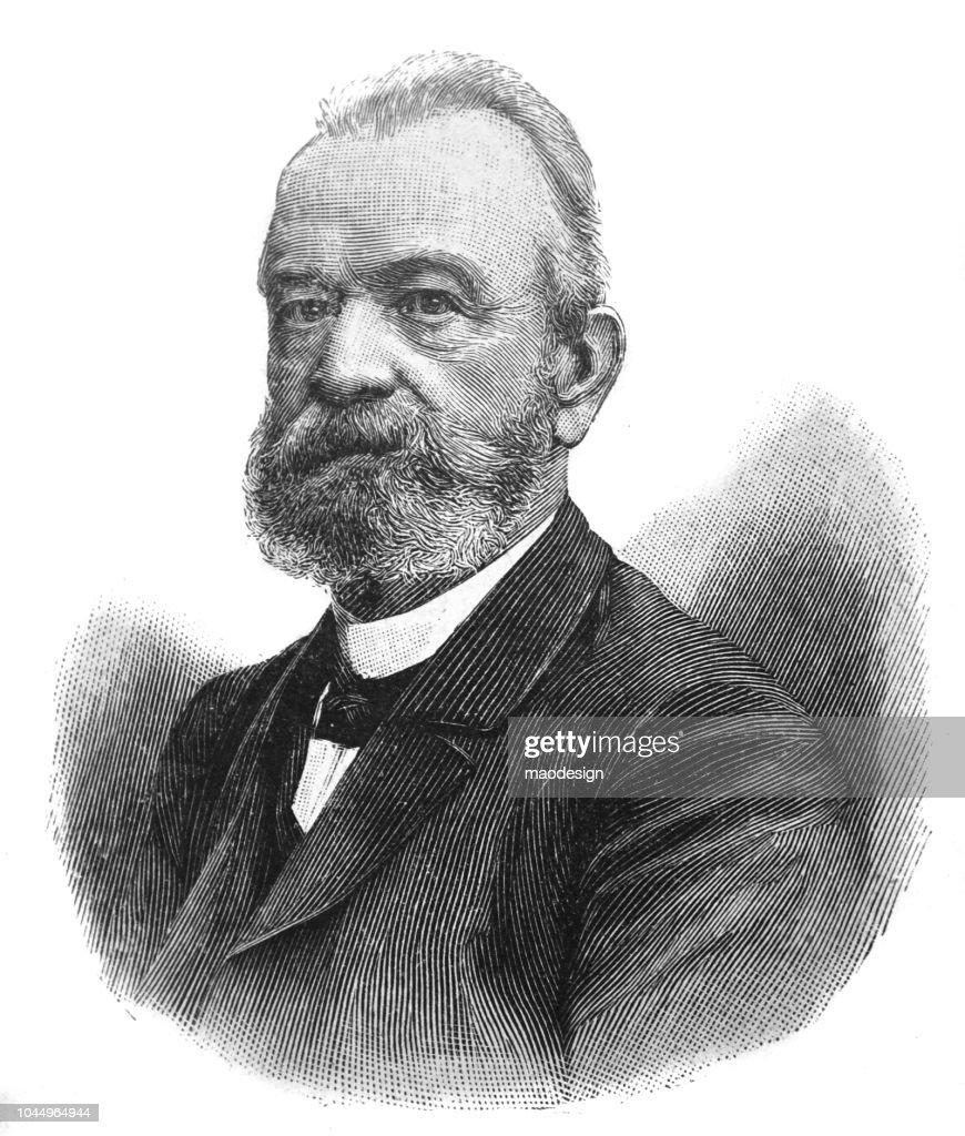 Portrait of an elderly man - 1895 : stock illustration
