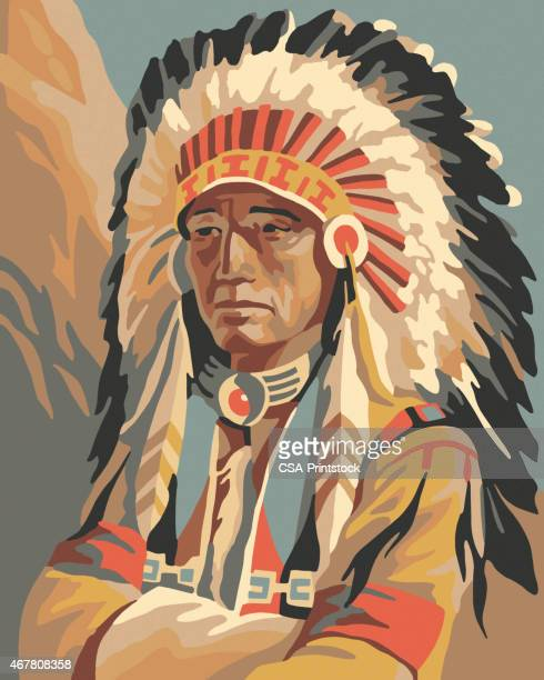 portrait of an indian chief - headdress stock illustrations