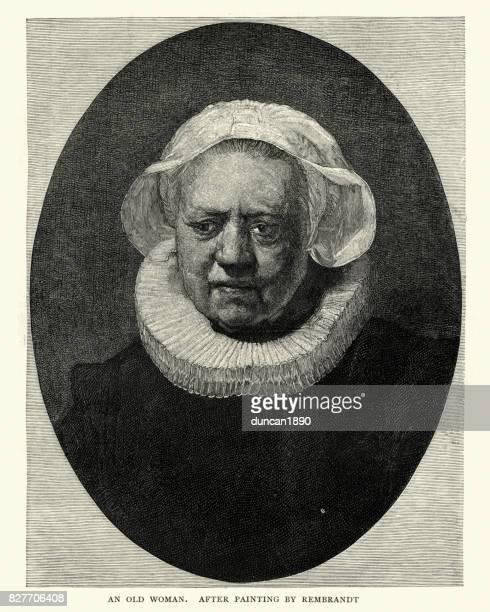 レンブラント後、老婆の肖像画 - 17世紀点のイラスト素材/クリップアート素材/マンガ素材/アイコン素材