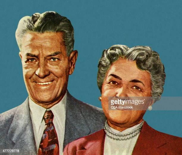年上のカップルの肖像 - 年配のカップル点のイラスト素材/クリップアート素材/マンガ素材/アイコン素材