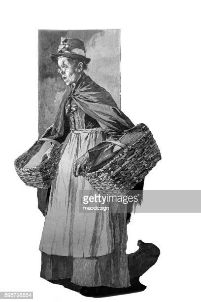 portrait of an older woman with two shopping baskets -1896 - 1896 stock illustrations, clip art, cartoons, & icons