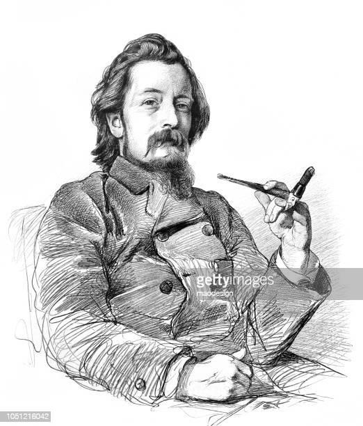 illustrazioni stock, clip art, cartoni animati e icone di tendenza di ritratto di anton alexander von werner - pittore tedesco - 1888 - cultura tedesca