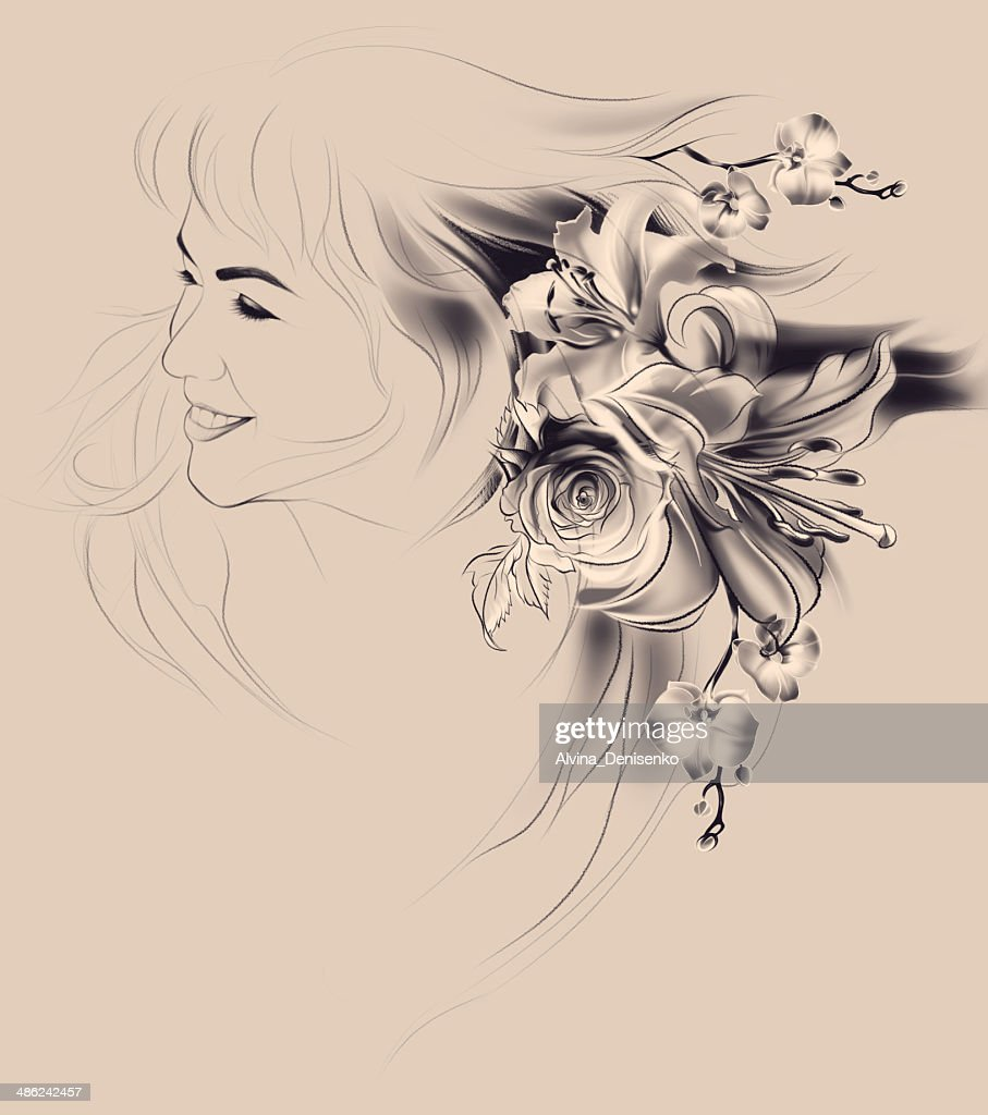 Portrait of beautiful girl with flowers in her hair stock portrait of beautiful girl with flowers in her hair stock illustration izmirmasajfo