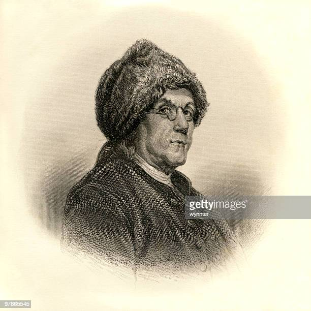 portrait of benjamin franklin, age 71, ca. 1777 - france stock illustrations