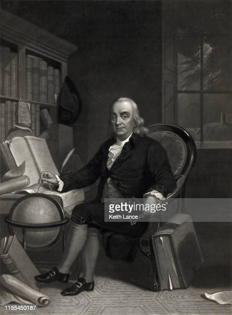 portrait of benjamin franklin - declaration of independence stock illustrations