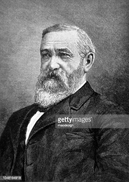 portrait of benjamin harrison - 23rd president of the united states - 1888 - president stock illustrations, clip art, cartoons, & icons