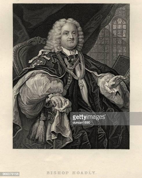 ilustrações, clipart, desenhos animados e ícones de retrato do bispo benjamin hoadly por william hogarth - bishop clergy