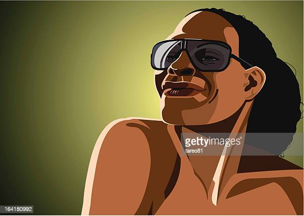 portrait of black girl with hip sunglasses - swing dancing stock illustrations
