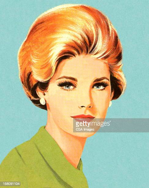 portrait of blonde woman - humourless stock illustrations, clip art, cartoons, & icons
