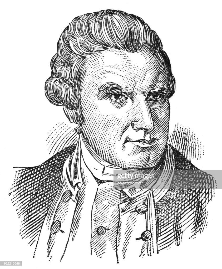 Portrait of Captain James Cook - 19th Century : Stock Illustration