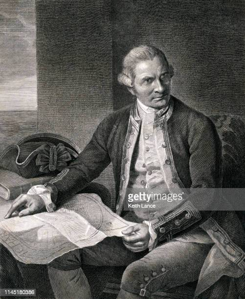 portrait of captain james cook - 18th century stock illustrations