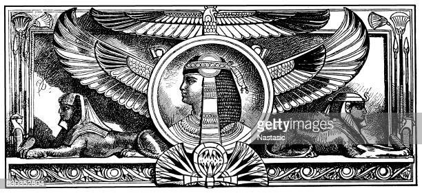 portrait of cleopatra - north african ethnicity stock illustrations, clip art, cartoons, & icons