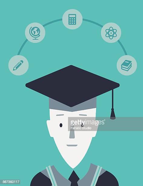 portrait of college boy with mortar board on successful completion of graduation - hochschulstudium stock-grafiken, -clipart, -cartoons und -symbole