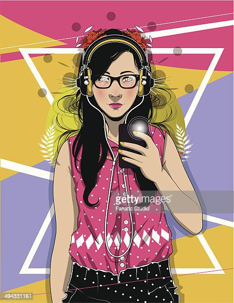 portrait of confident female hipster taking selfie over colored background - girls flashing camera stock illustrations