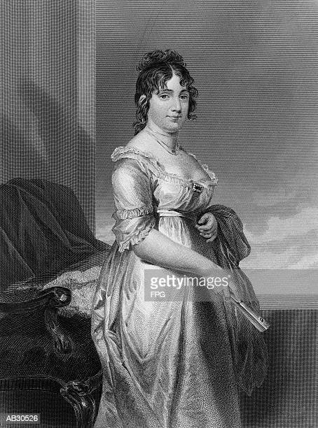 portrait of dolley madison - the past stock illustrations
