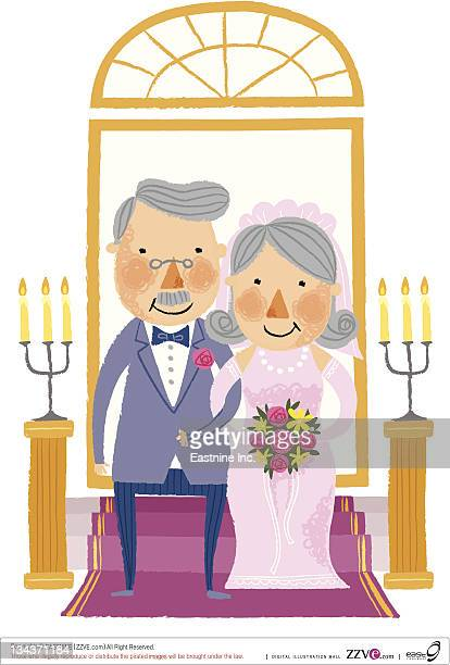 portrait of elderly Groom & bride