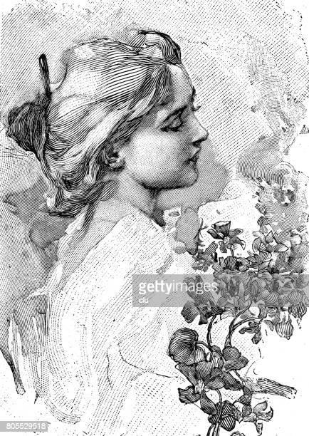 エレガントな若い女性、短い髪、ヘッド ショット、側面の肖像画