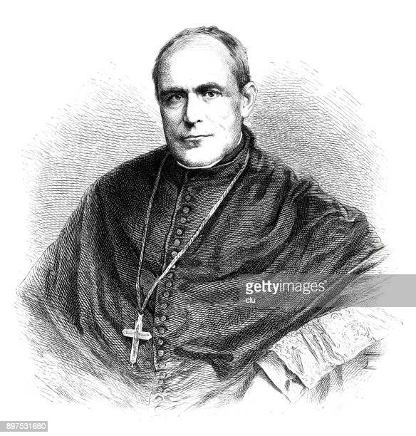 ilustrações, clipart, desenhos animados e ícones de retrato de emanuel freiherr von ketteler, bispo de mainz - bishop clergy