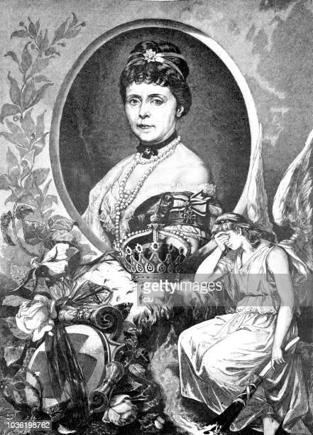 portrait of empress augusta, 1811-1890 - empress stock illustrations, clip art, cartoons, & icons