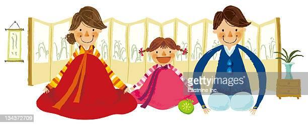 ilustraciones, imágenes clip art, dibujos animados e iconos de stock de portrait of family sitting together - mujeres de mediana edad