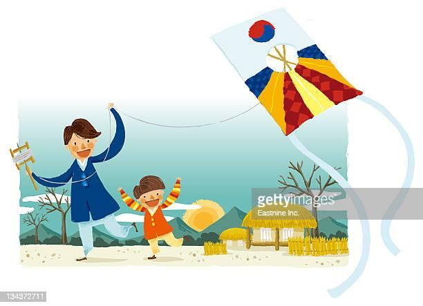 ilustraciones, imágenes clip art, dibujos animados e iconos de stock de portrait of father and son flying kite - cultura coreana