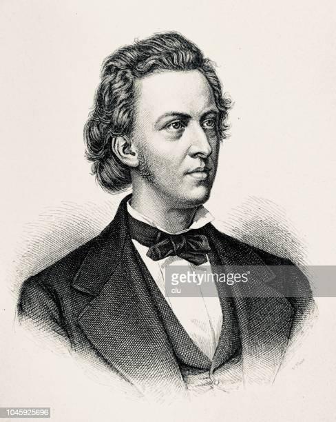 1810-1849 frernch 作曲家フレデリック ・ ショパンの肖像 - 1890~1899年点のイラスト素材/クリップアート素材/マンガ素材/アイコン素材