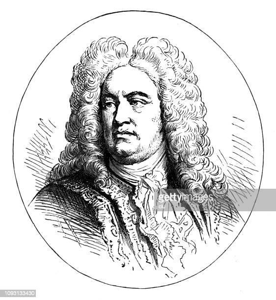 ゲオルク ・ フリードリヒ ・ ヘンデル、ドイツ英国作曲家、1685-1759 の肖像画 - ジョージ ヘンデル点のイラスト素材/クリップアート素材/マンガ素材/アイコン素材