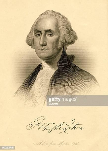 portrait of george washington, 1791 - george washington stock illustrations