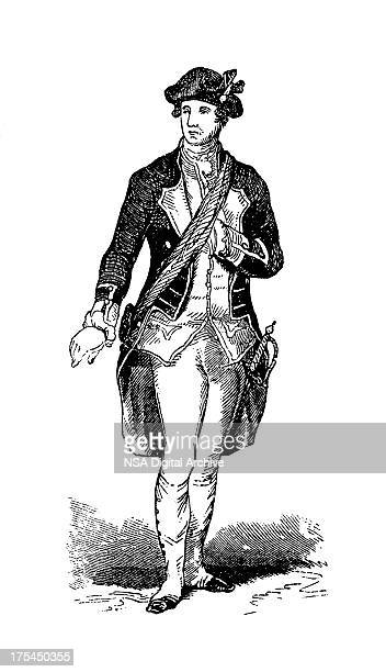portrait of george washington, first us president |historic american illustrations - bill of rights stock illustrations