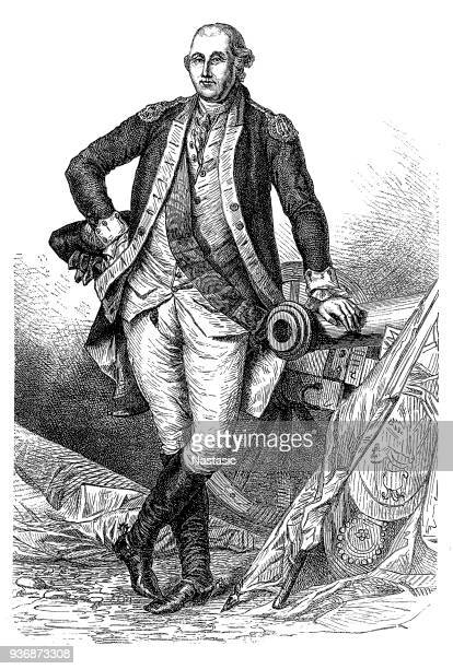 portrait of george washington, first us president - bill of rights stock illustrations