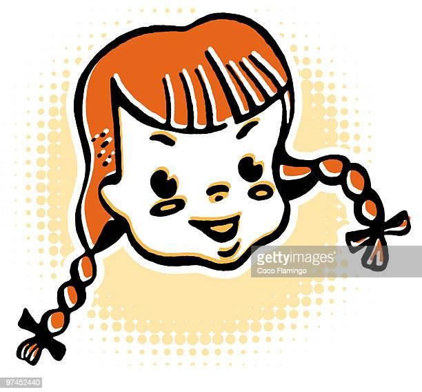 portrait of girl smiling - tiziano vecellio stock illustrations, clip art, cartoons, & icons
