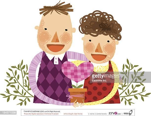 ilustraciones, imágenes clip art, dibujos animados e iconos de stock de portrait of happy young couple  - mujeres de mediana edad