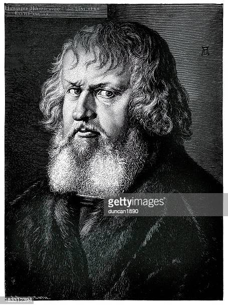 portrait of hieronymus holzschuher - historical clothing stock illustrations