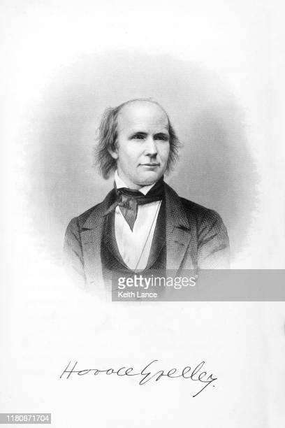 portrait of horace greeley - black civil rights stock illustrations, clip art, cartoons, & icons
