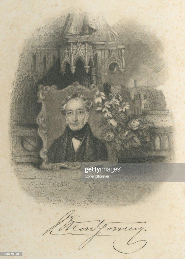 ジェームズモンゴメリーの肖像と署名 19世紀 ストック ...