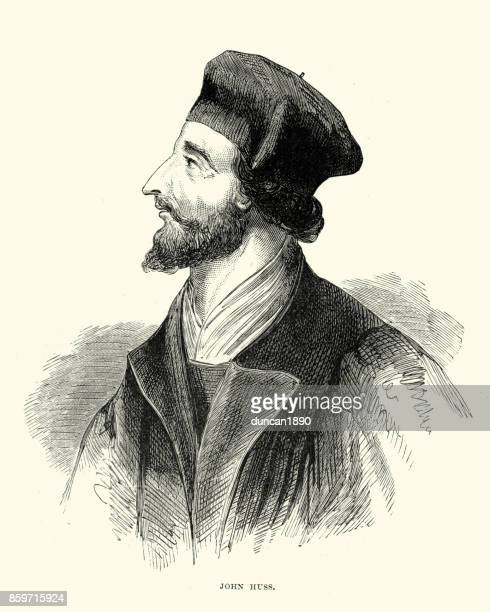 portrait of jan hus (john huss) - circa 14th century stock illustrations, clip art, cartoons, & icons